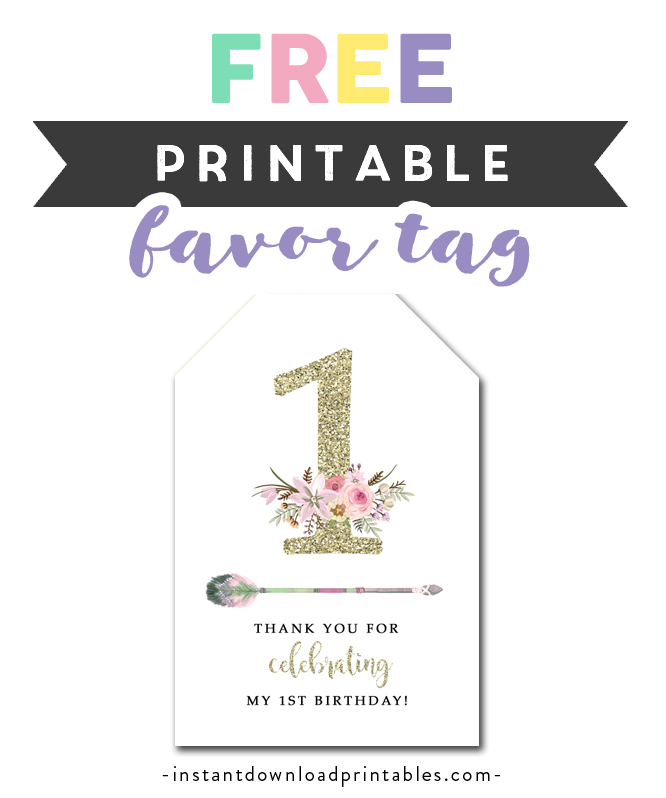 picture about Free Printable Birthday Tags referred to as Absolutely free Printable Thank Your self Tags - Initially Birthday Gold Glitter
