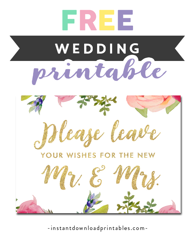 Free Wedding Printables.Free Printable Wedding Sign Wishes For New Mr And Mrs Pretty