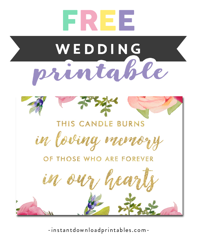 photograph regarding In Loving Memory Free Printable titled Totally free Printable Wedding ceremony Signal - Candle Burns In just Loving Memory