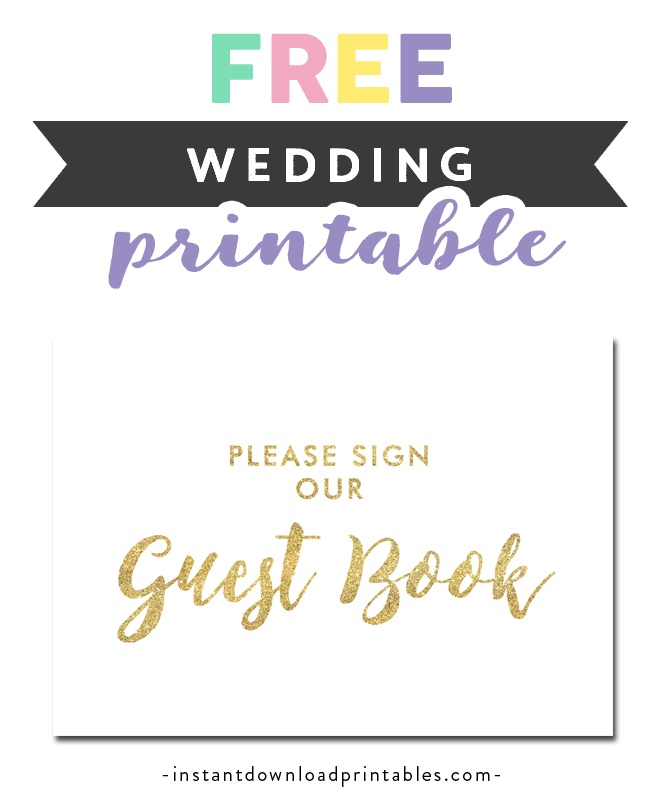 graphic relating to Please Sign Our Guestbook Free Printable called Absolutely free Printable Wedding ceremony Indicator White Gold Glitter - Be sure to Signal