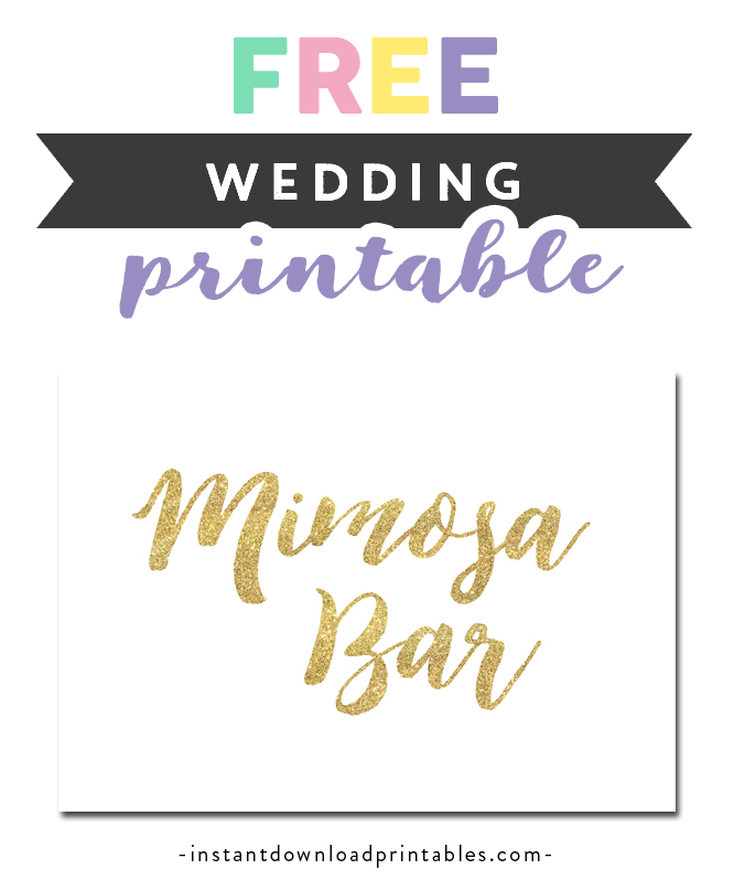 image regarding Mimosa Bar Sign Printable named Free of charge Printable Marriage ceremony Indicator White Gold Glitter - Mimosa Bar