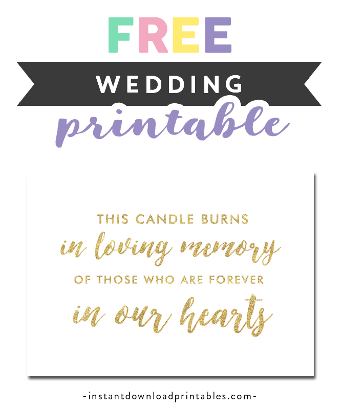 image regarding In Loving Memory Free Printable identified as Cost-free Printable Marriage ceremony Indication White Gold Glitter - This Candle