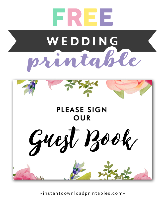 graphic about Please Sign Our Guestbook Printable titled Absolutely free Printable Marriage Indication Lovely Floral - Be sure to Signal Our