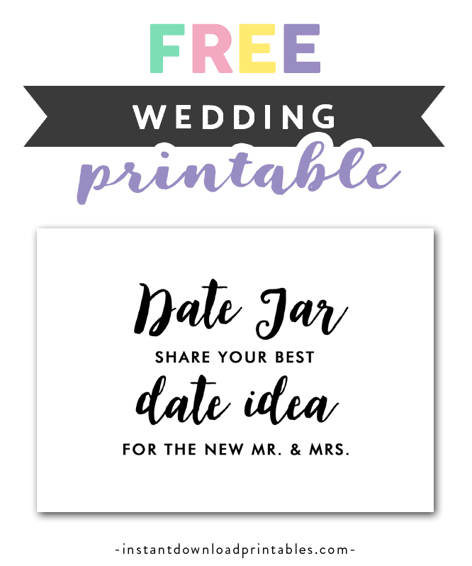 picture about Jar Printable identify Totally free Printable Wedding ceremony Signal Black and White - Day Jar