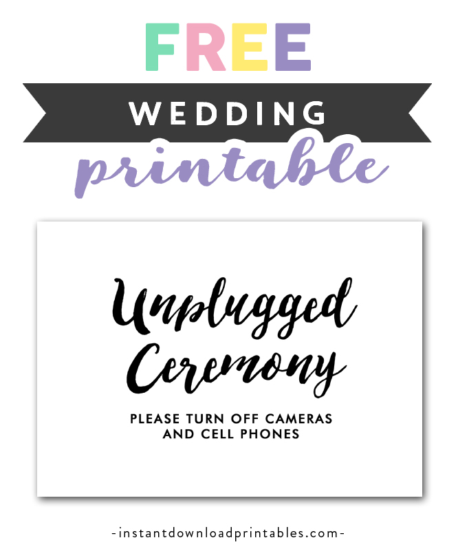 Free Wedding Printables.Free Printable Wedding Sign Black And White Unplugged Ceremony