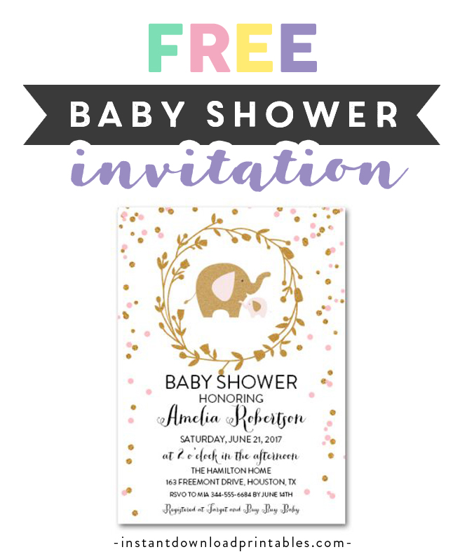 Navy Blue /& Grey Chevron Elephant Printable Baby Shower Invitation Editable PDF
