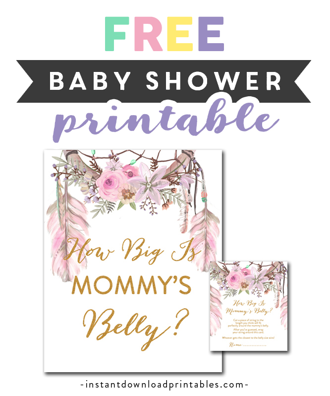 graphic regarding How Big is Mommy's Belly Free Printable identified as Absolutely free Printable Youngster Shower Dreamcatcher Tribal Watercolor