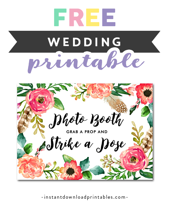 image regarding Free Printable Photo Booth Sign titled No cost Printable Wedding day Indicator Watercolor Bouquets - Photograph Booth