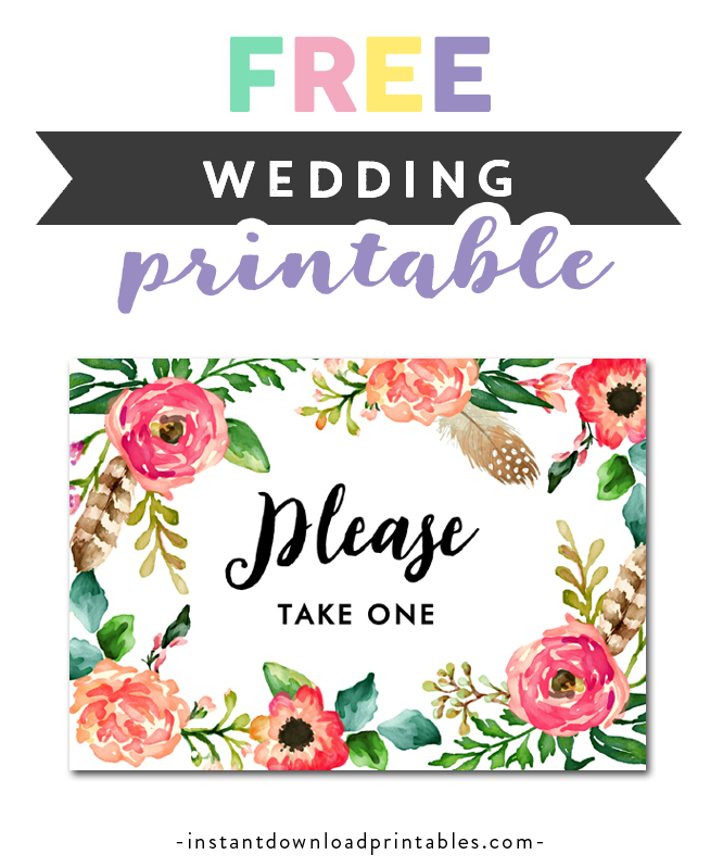 photo relating to Please Take One Sign Printable known as Free of charge Printable Marriage Signal Watercolor Bouquets - Make sure you Just take