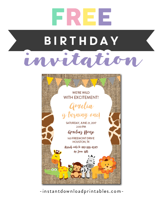 Free Printable Editable Pdf Birthday Party Invitation Diy Safari