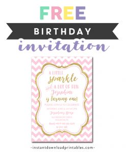 Free Printable Editable PDF Birthday Party Invitation DIY Blush Pink Gold Glitter A Little Sparkle And Lot Of Fun Instant Download Edit In Adobe