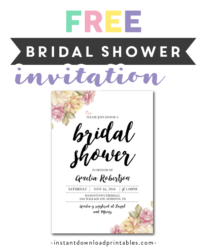 photograph relating to Free Printable Wedding Shower Invitations identify Free of charge Printable Editable PDF Bridal Shower Invitation Do it yourself