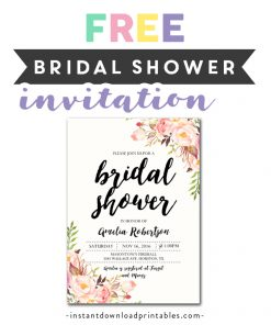 graphic relating to Free Printable Wedding Shower Invitations identified as Bridal Shower Invites Archives - Fast Obtain Printables