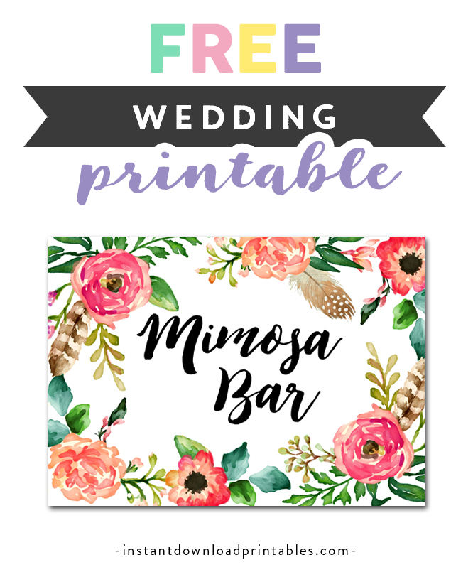 graphic about Mimosa Bar Sign Printable Free known as Absolutely free Printable Marriage Indicator Watercolor Bouquets - Mimosa Bar