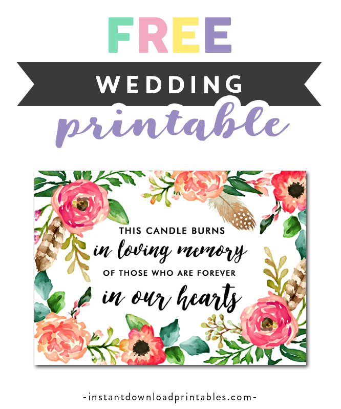 photograph about In Loving Memory Free Printable identified as Totally free Printable Marriage ceremony Signal Watercolor Bouquets - Within just Loving