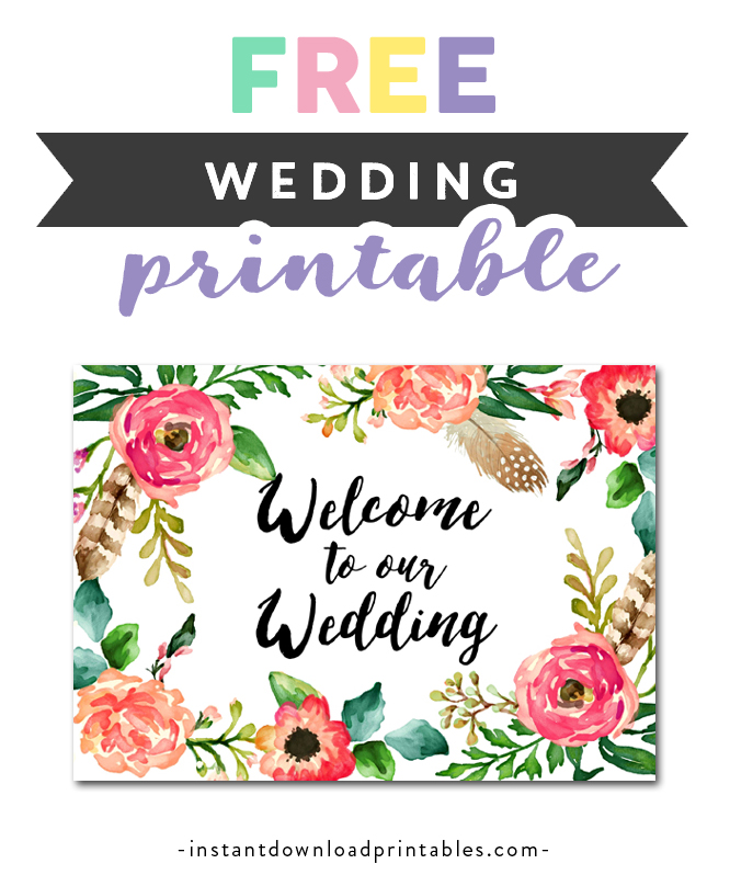 image relating to Free Printable Welcome Sign titled Free of charge Printable Marriage Indicator Watercolor Bouquets - Welcome towards